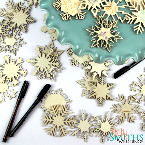 Winter Wedding Wooden Snowflake Ornaments Guest Book Alternative ...