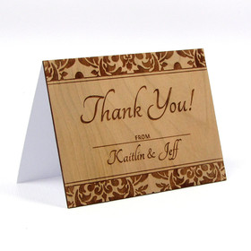 """Elegant Damask"" Solid Wood Thank You Card"