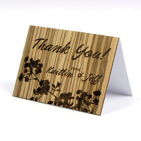 "Wood Thank You Card - ""Modern Blossom"" Design"