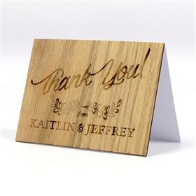 """Rustic Leaf"" Solid Wood Thank You Card"