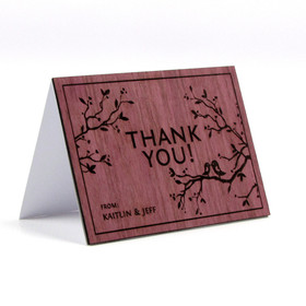 """Simple Love Birds"" Solid Wood Thank You Card"