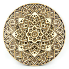 """Lotus Mandala"" - 3D Layered Wood Art - Version B"