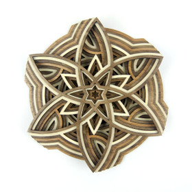 """The Pinwheel"" - 3D Layered Wood Art - Version C"