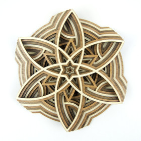 """The Pinwheel"" - 3D Layered Wood Art - Version E"