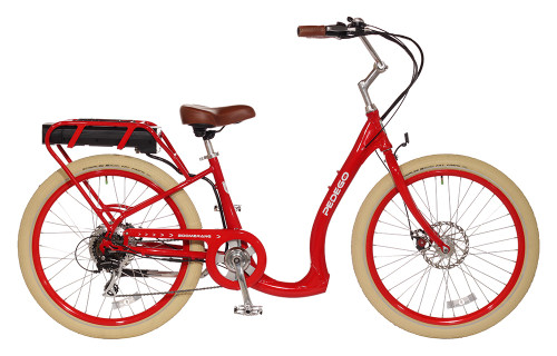 Pedego Boomerang - Red Frame with Upgraded Creme Balloon Wheels