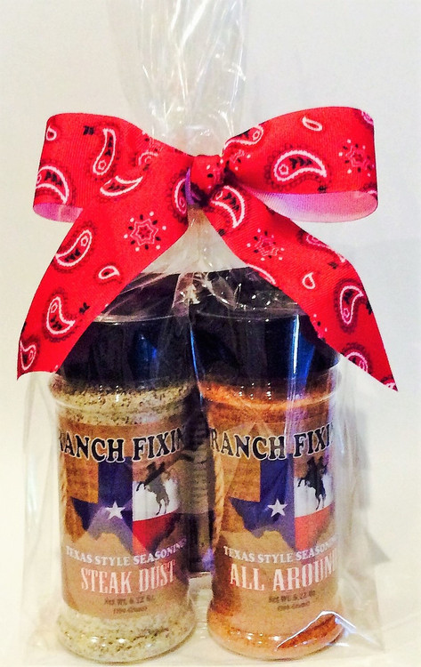 Our Texas Gift Pack comes loaded with our signature STEAK DUST and ALL AROUND seasoning along with our COME AND TAKE IT Chili Mix. Great stocking stuffers for the Trail Bosses on your list. Turn an ordinary meal into Cowboy Cuisine!