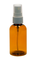 60ml (2oz.) Amber PET Plastic Boston Round Bottle w/ White Sprayer