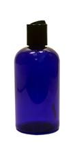 240ml (8oz.) Blue PET Plastic Boston Round Bottle with Black Dispenser Cap