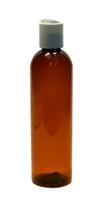 240ml (8oz.) Dark Amber PET Bullet Bottle with White Disc Cap