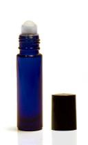 10ML Cobalt Blue Roll-on Bottle w/ Roller Ball, Insert & Black Cap