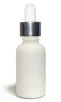 30ML (1oz.) White Ceramic European Round Bottle w/ Silver Dropper