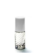 5ML Swirled Clear Glass Roll-on Bottle w/ Roller Ball, Insert & White Cap