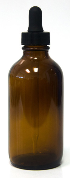 120ml (4oz) Amber Boston Round glass bottle with matching 108mm Dropper