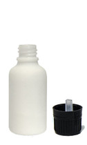 30ML (1oz) White Ceramic Euro Bottle with Tamper Evident Cap & Orifice Reducer