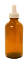 120ml (4 oz) Amber Boston Round glass bottle with White Regular 108mm Dropper