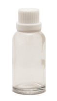 30ML (1oz.) Clear Glass Essential Oil Euro Bottle with Heavy Duty White Tamper Evident Cap & Orifice Reducer
