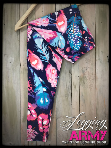 Plus Size Sublimation- Floating Feathers