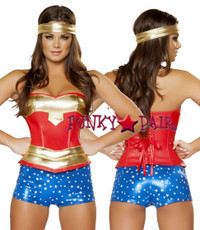53pc Heroine Girl Costume includes leatherette lace-up corset, metallic star shorts and headband5