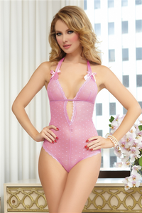 Heart mesh teddy, plunging neckline, lace tirm, stretch satin halter straps, satin ribbon bows, elastic underband with back adjustor, and snap crotch
