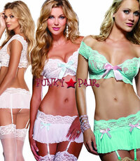 DG-7962,  Lace Bra and Pleated Garter Skirt set