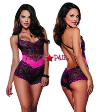 DG-8622, Cross Dye Stretch Lace Galloon Romper