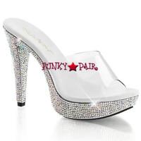Cocktail-501DM, 5 Inch Heel Rhinestones Slide Shoes