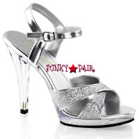 Flair-419G, 4.5 inch Multi-Glitter Criss Cross Straps Sandal Made By PLEASER Shoes