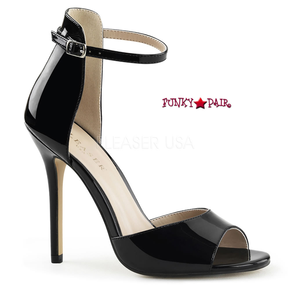 Pleaser AMUSE-10 5 Inch Heel, Closed Back Sandal W/ Buckled Ankle Strap