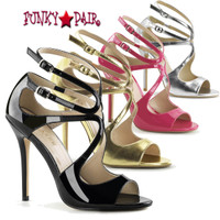 Amuse-15, 5 inch Heel Strappy Sandal color Silver Met Pu