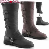 Gotham-105, Men's Buckle Strap Knee High Boots