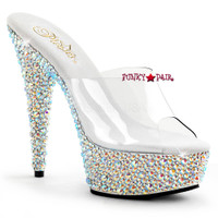 Bejeweled-601MS, 6 Inch Heel with Multi-Rhinestones Slide