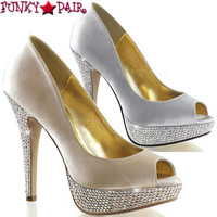Lolita-02, 5 inch Peep Toe Pump with Rhinestones