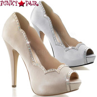 Lolita-05, 5 Inch Peep Toe Pump with Rhinestones on Trim