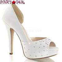Lolita-09, 5 Inch heel D'orsay Pump with Rhinestones
