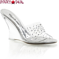 Lovely-401RS, 4 Inch Wedge Rhinestones Slide Made By PLEASER Shoes