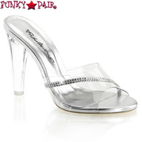 Clearly-401R, 4.5 Inch Clear Slide with Rhinestones Made By PLEASER Shoes