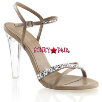 Clearly-415, 4.5 Inch Clear Heel Criss Cross Sandal