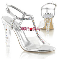 Clearly-426, 4.5 Inch Clear T-Strap Sling Back Sandal