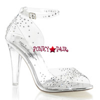 Clearly-430RS, 4.5 inch Rhinestones Ankle Strap SandalMade By PLEASER Shoe