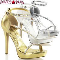 Lumina-26, 4.75 inch Closed Back Sandal Rhinestones Made By PLEASER Shoes