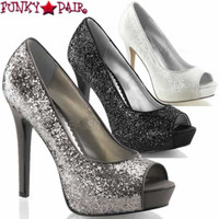 Lumina-27G, 4.75 Inch Peep Toe Platform Pump  Made By PLEASER Shoes