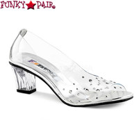 Crystal-100, 2 Inch Clear Peep Toe Pump with Rhinestones