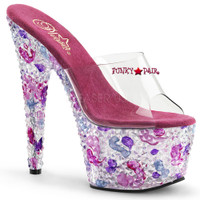 Crystalize-701, 7 Inch High Heel Platform Slide with Color Pyramids Stones