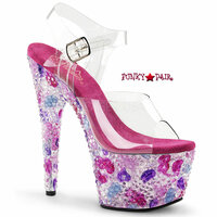 Crystalize-701, 7 Inch High Heel Ankle Strap Platform with Color Pyramids Stones **New Arrival**