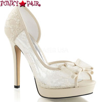 Lumina-33, 4.75 Inch Heel Lace Peep Toe Pump  Made By PLEASER Shoes