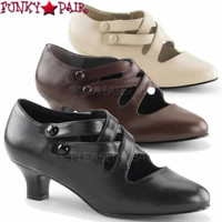Dame-02, 2 Inch Kitten Heel Pump Criss Cross Button Straps