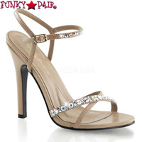Melody-15, 4.5 Inch Heel Criss Cross Rhinestones Sandal  Made By PLEASER Shoes