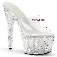 Starbloom-701, 7 Inch Heel Slide with Rhinestones Star