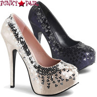 Teeze-06SQ, 5.75 Inch Platform Pump with Sequins