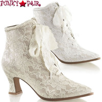 VICTORIAN-30, High Platform2.75 inch flair heel lace up ankle boots with lace overlay</p> * Made by PLEASER Shoes